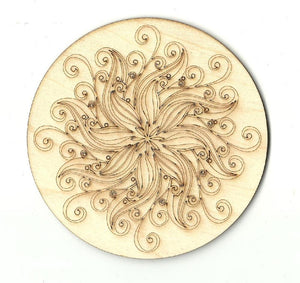 Sea Anemone Design - Laser Cut Wood Shape Dsn7 Craft Supply
