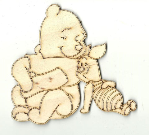 Bear And Piglet - Laser Cut Wood Shape Dsy146 Craft Supply