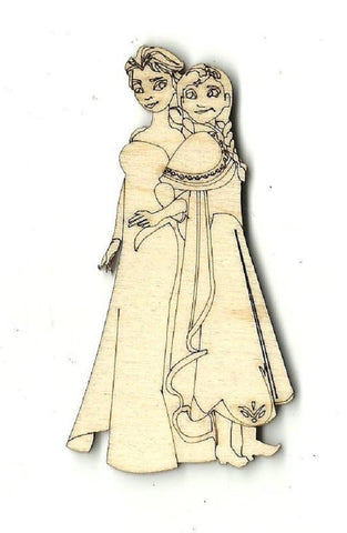 Anna & Elsa - Laser Cut Wood Shape Dsy128 Craft Supply