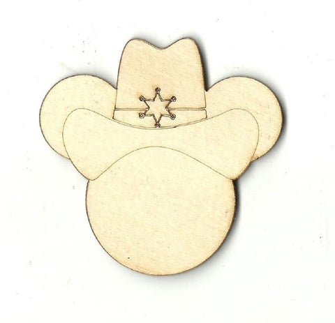 Cowboy Mickey Mouse - Laser Cut Wood Shape Dsy35 Craft Supply