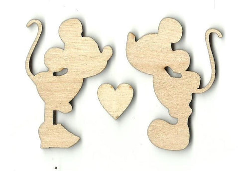 Mickey & Minnie Mouse - Laser Cut Wood Shape Dsy3 Craft Supply