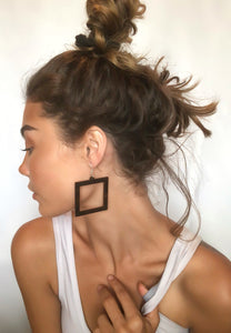 Wood Square Dangle Earrings - Laser Cut Sterling Silver Jewelry Ear-10