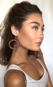 Wood Hoop Dangle Earrings - Laser Cut Sterling Silver Jewelry Ear-19