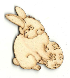 Bunny Rabbit With Easter Egg - Laser Cut Wood Shape Esr25 Craft Supply