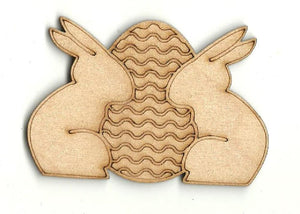 Bunny Rabbits With Easter Egg - Laser Cut Wood Shape Esr26 Craft Supply