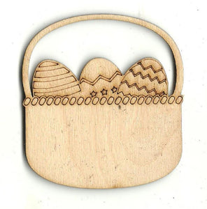Easter Basket With Eggs - Laser Cut Wood Shape Esr27 Craft Supply