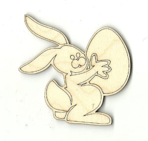 Bunny Rabbit With Easter Egg - Laser Cut Wood Shape Esr4 Craft Supply