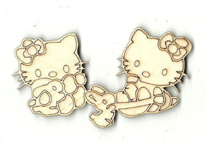 Kitty Cats With Easter Baskets - Laser Cut Wood Shape Esr7 Craft Supply