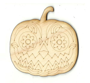 Day of the Dead Pumpkin - Laser Cut Wood Shape FAL237