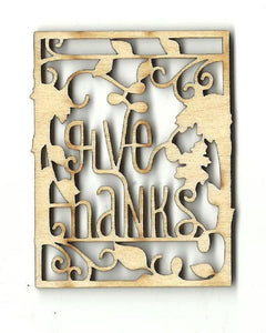 Give Thanks Frame - Laser Cut Wood Shape Fal161 Craft Supply