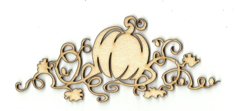 Pumpkin With Vines - Laser Cut Wood Shape Fal160 Craft Supply
