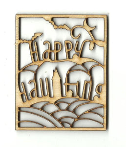 Happy Haunting Frame - Laser Cut Wood Shape Fal153 Craft Supply