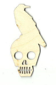 Raven On A Skull - Laser Cut Wood Shape Fal32 Craft Supply