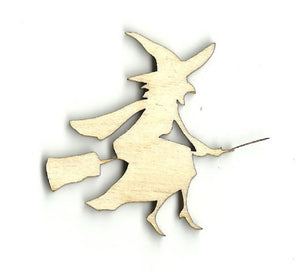 Witch On A Broom - Laser Cut Wood Shape Fal148 Craft Supply