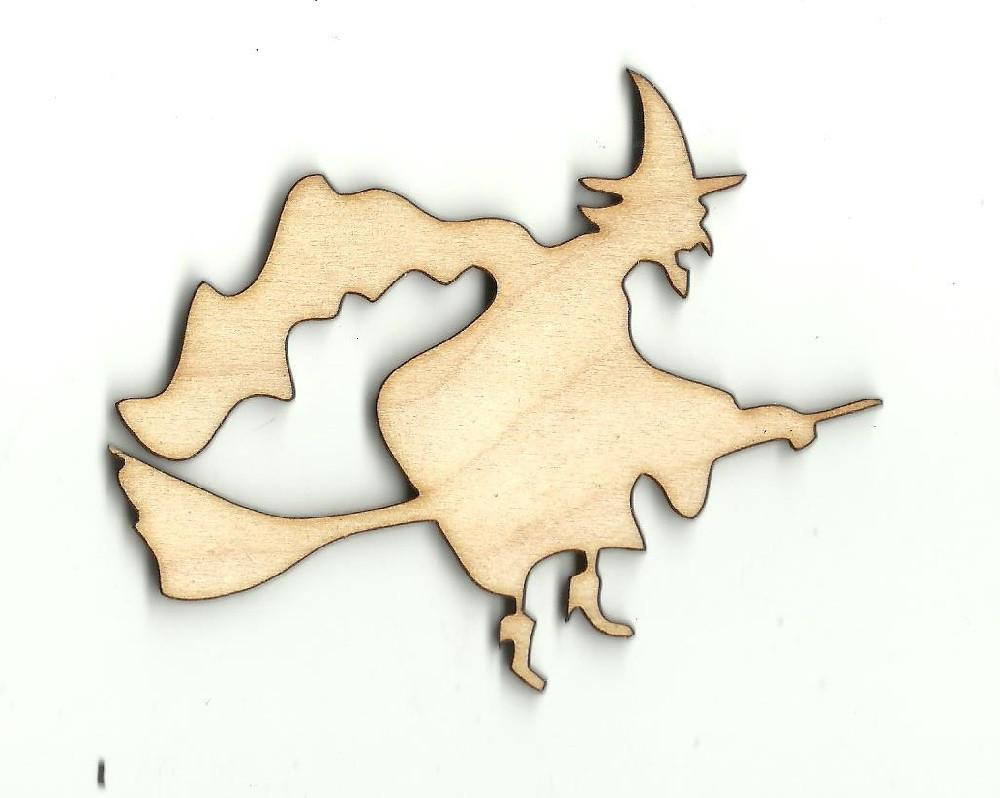 Witch On A Broom - Laser Cut Wood Shape Fal145 Craft Supply
