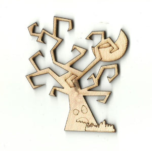 Tree With A Moon - Laser Cut Wood Shape Fal46 Craft Supply