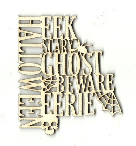 Halloween Word Sign - Laser Cut Wood Shape Fal68 Craft Supply