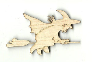 Witch On A Broom - Laser Cut Wood Shape Fal69 Craft Supply