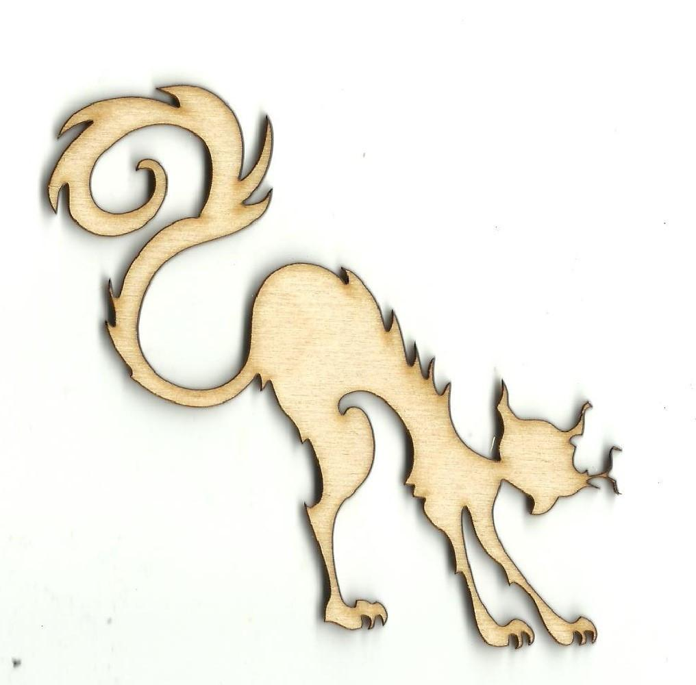 Spooked Kitty Cat - Laser Cut Wood Shape Fal139 Craft Supply
