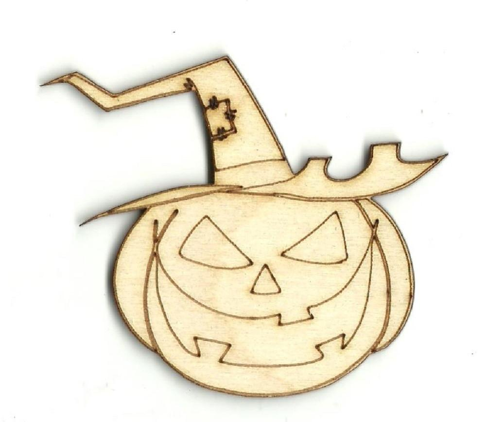 Pumpkin With Witch Hat - Laser Cut Wood Shape Fal131 Craft Supply