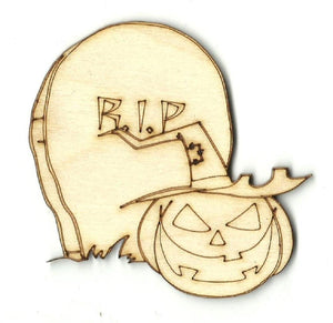 Pumpkin Tombstone & Witch Hat - Laser Cut Wood Shape Fal126 Craft Supply