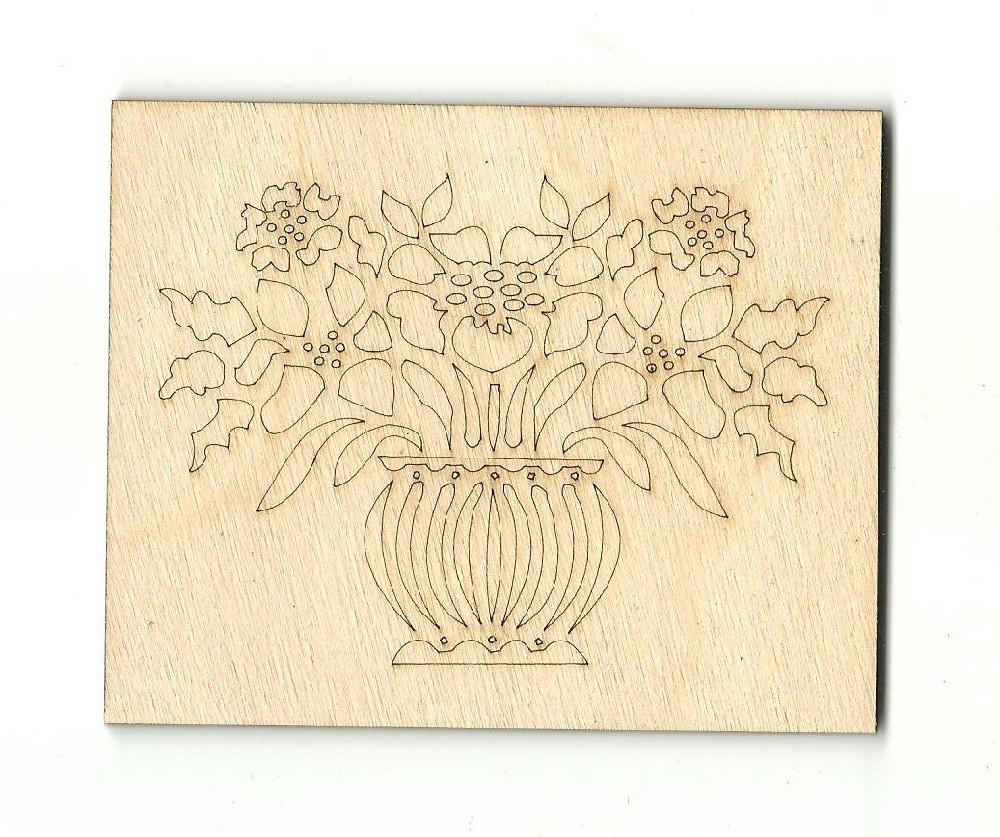 Bouquet Of Flowers In A Vase - Laser Cut Wood Shape Flr17 Craft Supply