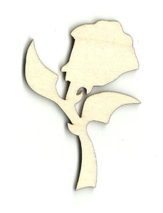 Rose - Laser Cut Wood Shape Flr1 Craft Supply