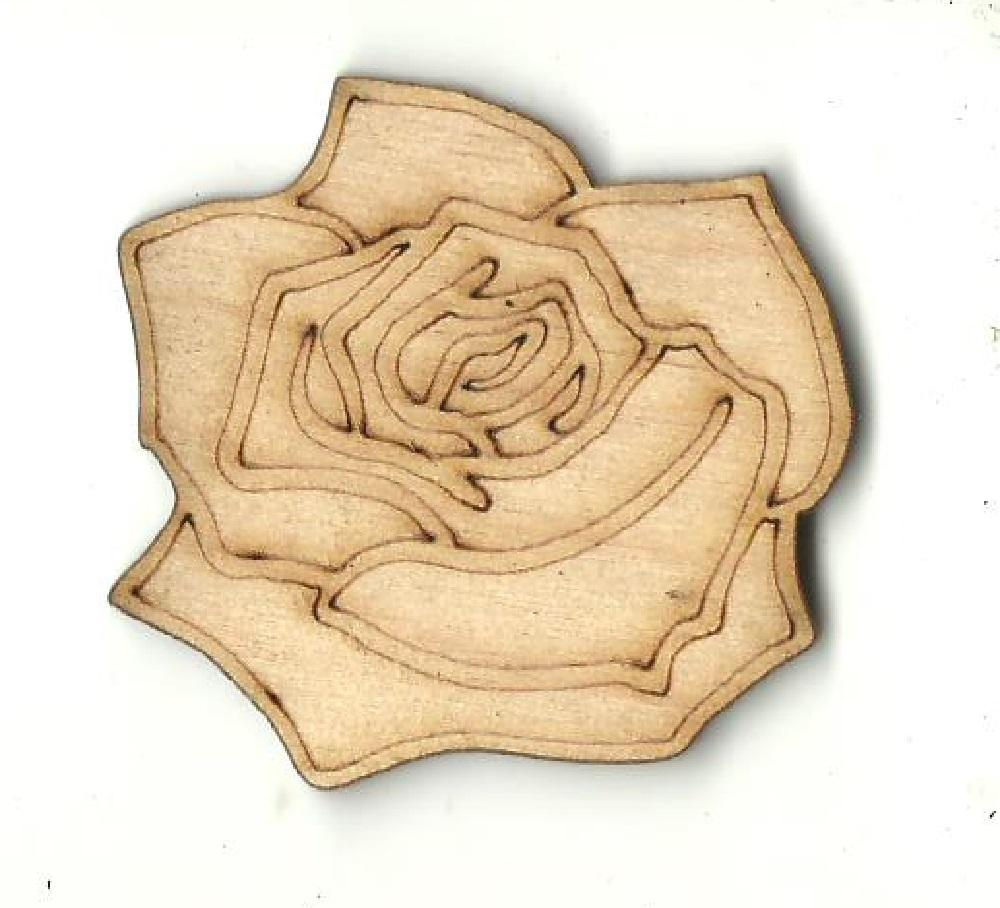 Rose - Laser Cut Wood Shape Flr70 Craft Supply