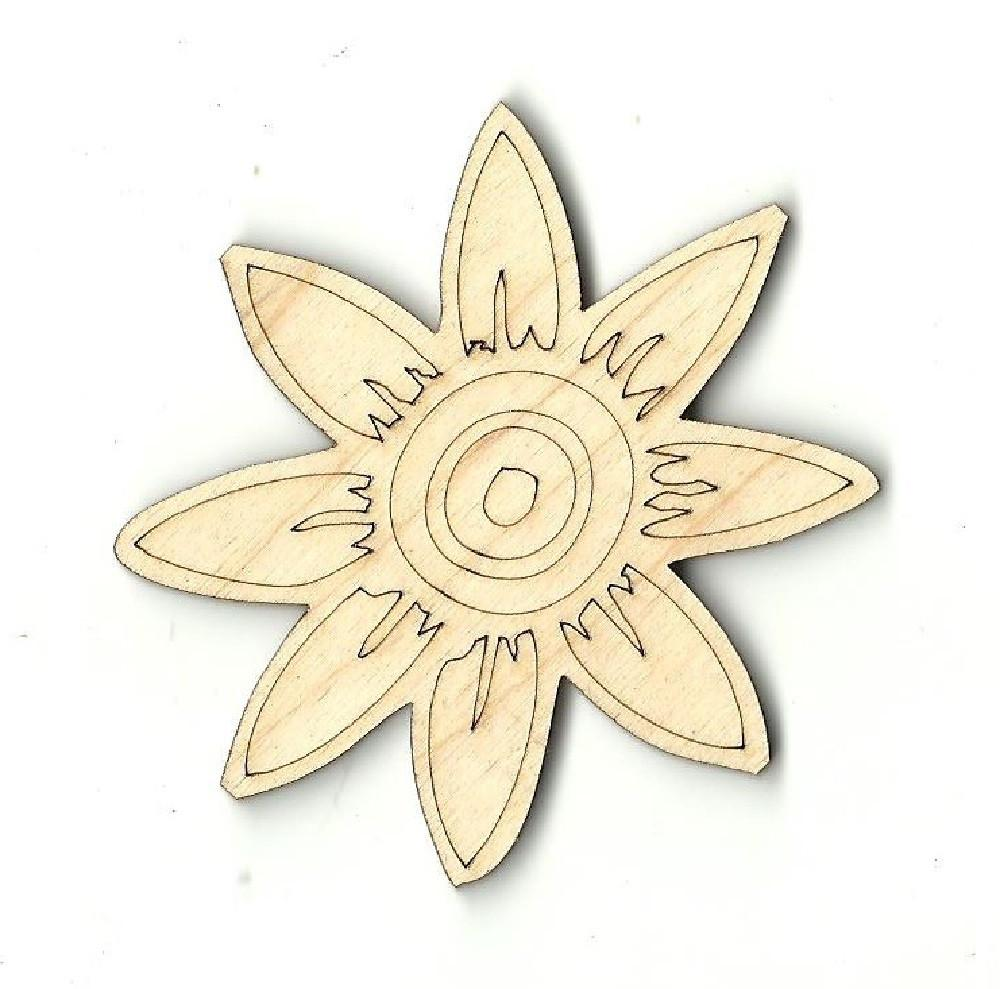 Flower - Laser Cut Wood Shape Flr7 Craft Supply