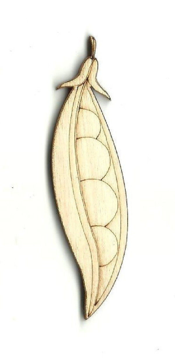 Pea Pod - Laser Cut Wood Shape Fod145 Craft Supply