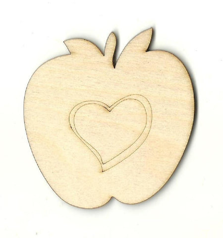 Apple with Heart - Laser Cut Wood Shape FOD156