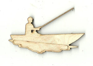Fisherman In Boat - Laser Cut Wood Shape Hnt3 Craft Supply