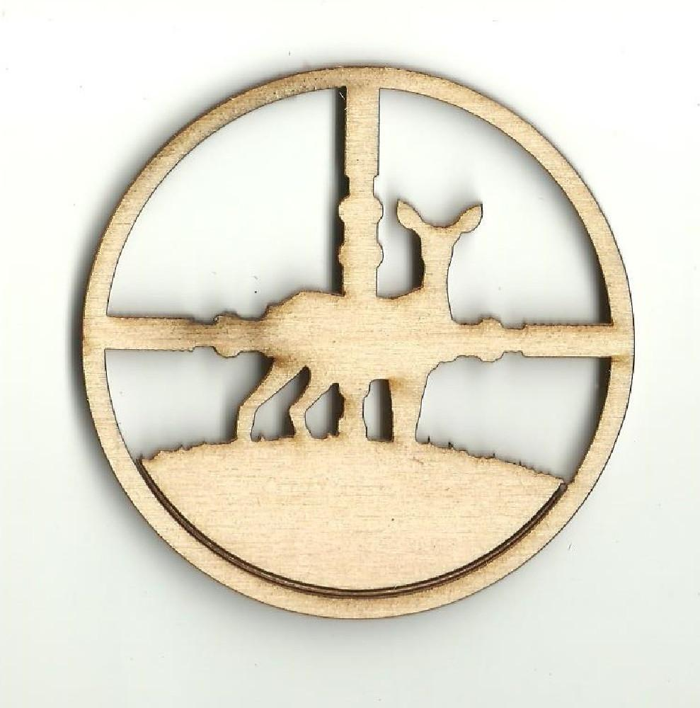Deer In Scope Target - Laser Cut Wood Shape Hnt7 Craft Supply