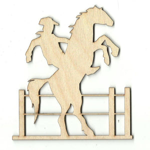 Cowboy On A Bucking Horse - Laser Cut Wood Shape Hrs3 Craft Supply