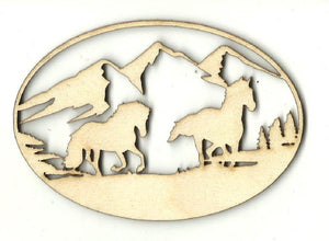 Horse Scene - Laser Cut Wood Shape Hrs66 Craft Supply