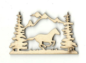 Running Horse - Laser Cut Wood Shape Hrs6 Craft Supply