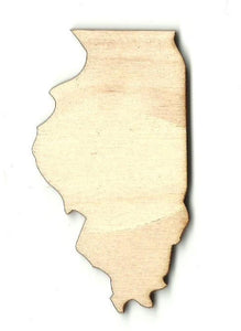 Illinois Us State - Laser Cut Wood Shape Craft Supply