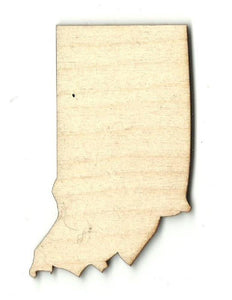 Indiana Us State - Laser Cut Wood Shape Craft Supply