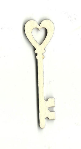 Heart Skeleton Key - Laser Cut Wood Shape Key12 Craft Supply