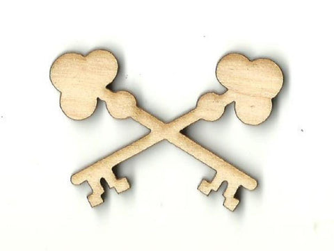 Crossed Skeleton Keys - Laser Cut Wood Shape Key25 Craft Supply
