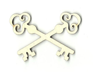 Crossed Skeleton Key - Laser Cut Wood Shape Key9 Craft Supply