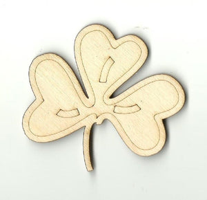 Clover Leaf - Laser Cut Wood Shape Lef4 Craft Supply
