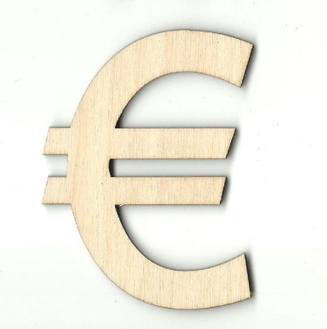 Euro Symbol - Laser Cut Wood Shape Mny1 Craft Supply