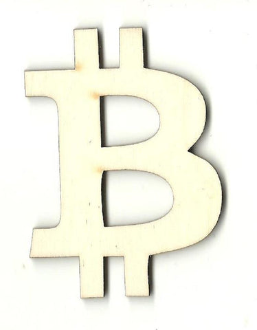 Bitcoin Symbol - Laser Cut Wood Shape Mny5 Craft Supply