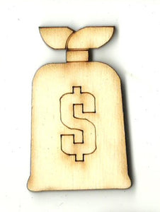 Bag of Money - Laser Cut Wood Shape MNY6