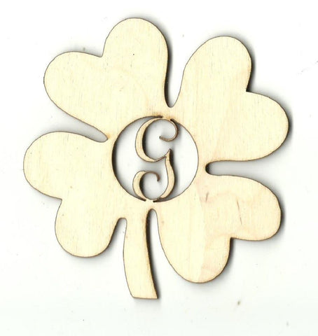 Four Leaf Clover Monogram - Laser Cut Wood Shape Mono1 Craft Supply