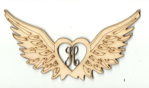 Winged Heart Monogram - Laser Cut Wood Shape Mono34 Craft Supply