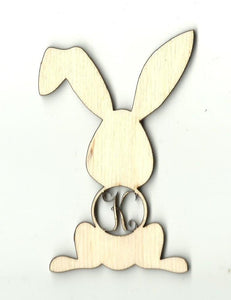 Bunny Rabbit Monogram - Laser Cut Wood Shape Mono51 Craft Supply