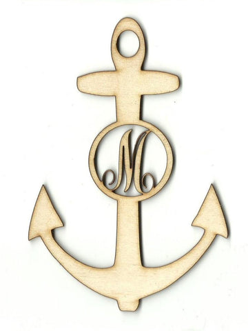 Anchor Monogram - Laser Cut Wood Shape Mono53 Craft Supply