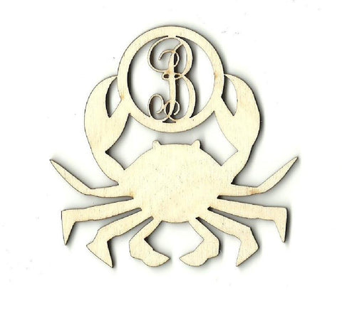 Crab Monogram - Laser Cut Wood Shape Mono57 Craft Supply